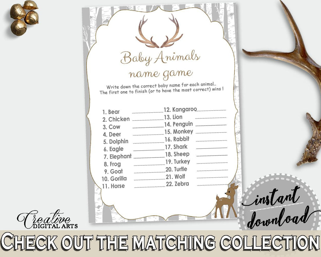 Baby Animal Names Baby Shower Baby Animal Names Deer Baby Shower Baby Animal Names Baby Shower Deer Baby Animal Names Gray Brown Z20R3 - Digital Product