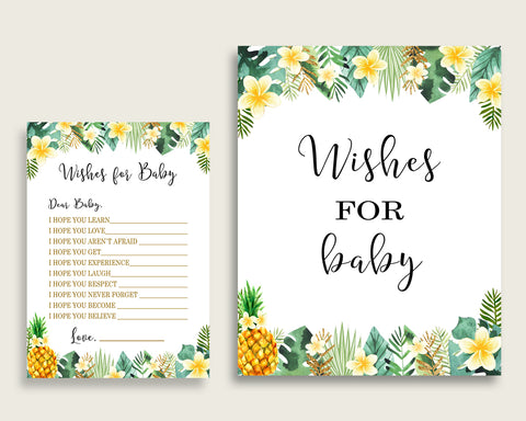 Green Yellow Wishes For Baby Cards Sign Tropical Baby Shower