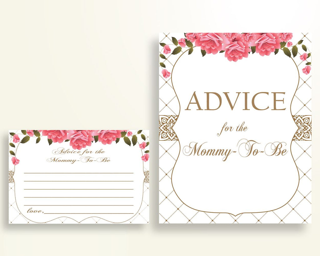Advice Cards Baby Shower Advice Cards Roses Baby Shower Advice Cards Baby Shower Roses Advice Cards Pink White party organising U3FPX - Digital Product