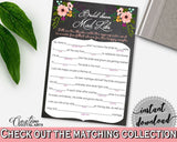 Chalkboard Flowers Bridal Shower Mad Libs Game in Black And Pink, verb, chalk bridal shower, shower activity, party theme, prints - RBZRX - Digital Product
