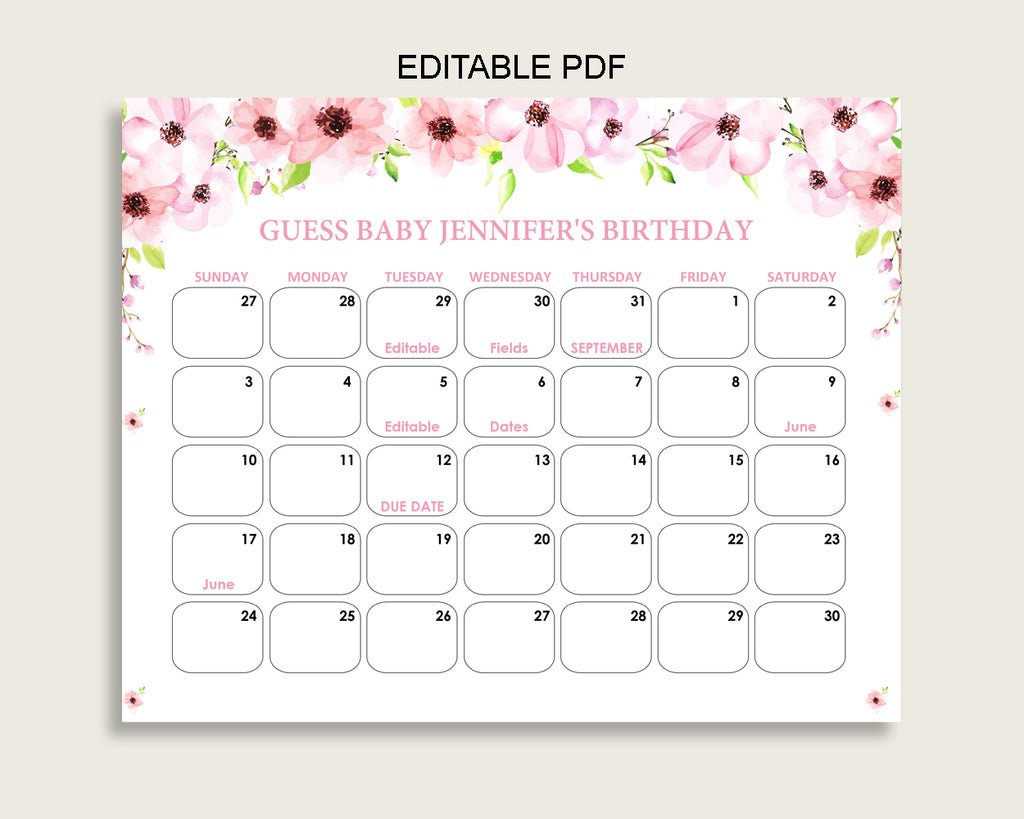 Pink Green Guess Baby Due Date Calendar Game Printable, Flower Blush Baby Shower Girl Birthday Prediction Calendar Editable, Instant VH1KL
