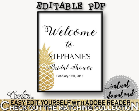 Bridal Shower Welcome Sign Editable Bridal Shower Bridal Shower Welcome Sign Editable Pineapple Bridal Shower Bridal Shower Welcome 86GZU - Digital Product