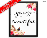You Are Beautiful Print, Beautiful Wall Art with Frame and Canvas options available Typography Decor