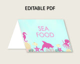Under The Sea Folded Food Tent Cards Printable, Pink Green Editable Pdf Buffet Labels, Girl Baby Shower Food Place Cards, Instant uts01