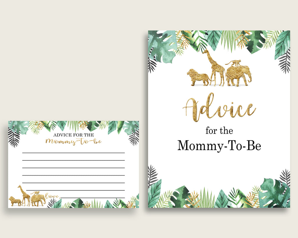 Jungle Advice For Mommy To Be Cards & Sign, Printable Baby Shower Gold Green Advice For New Parents, Instant Download, Cute Animals EJRED