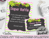 Baby shower DIAPER RAFFLE insert cards printable for baby shower with green alligator and pink color theme, Jpg Pdf, instant download - ap001