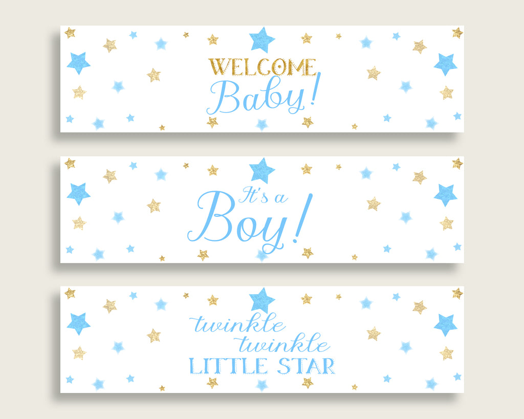Blue Gold Water Bottle Labels Printable, Stars Water Bottle Wraps, Stars Baby Shower Boy Bottle Wrappers, Instant Download, bsr01