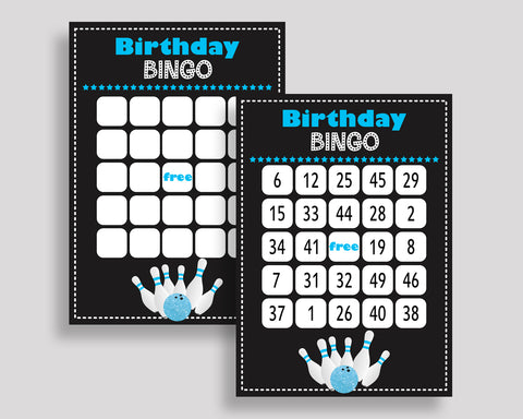 Bowling Bingo Cards Bowling Bingo Game Bowling Birthday Bingo Cards Black Blue Bingo 60 Cards Boy 5DVSP