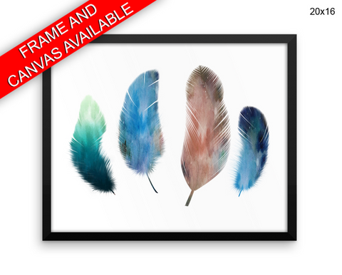 Watercolor Feathers Print, Beautiful Wall Art with Frame and Canvas options available Living Room
