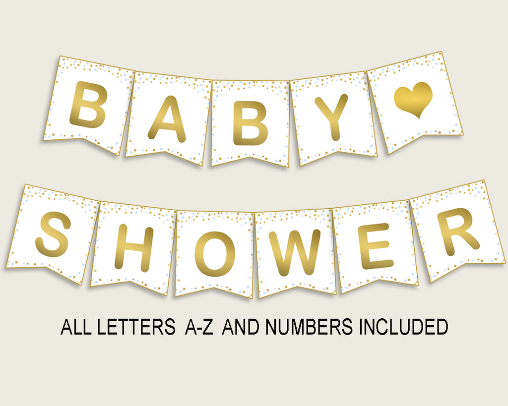 Banner Baby Shower Banner Confetti Baby Shower Banner Blue Gold Baby Shower Confetti Banner party décor party supplies prints cb001