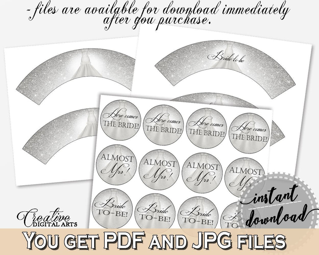 Cupcake Toppers And Wrappers in Silver Wedding Dress Bridal Shower Silver And White Theme, cupcake cover, party theme, party decor - C0CS5 - Digital Product