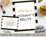 How Big Is MOMMY'S BELLY baby shower game with white black color stripes theme printable, glitter gold, Jpg Pdf, instant download - bs001