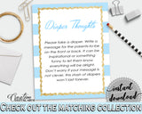 Baby shower DIAPER THOUGHTS printable game with blue and white stripes, glitter gold, digital file jpg pdf, instant download - bs002
