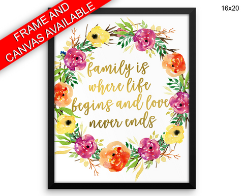 Family Print, Beautiful Wall Art with Frame and Canvas options available  Decor