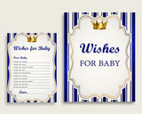 Blue Gold Wishes For Baby Cards & Sign, Royal Prince Baby Shower Boy Well Wishes Game Printable, Instant Download, Royal Blue King rp001