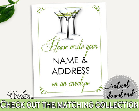 Addressing Sign Bridal Shower Addressing Sign Modern Martini Bridal Shower Addressing Sign Bridal Shower Modern Martini Addressing ARTAN - Digital Product