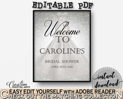 Bridal Shower Welcome Sign Editable in Silver Wedding Dress Bridal Shower Silver And White Theme, editable greetings, party theme - C0CS5 - Digital Product