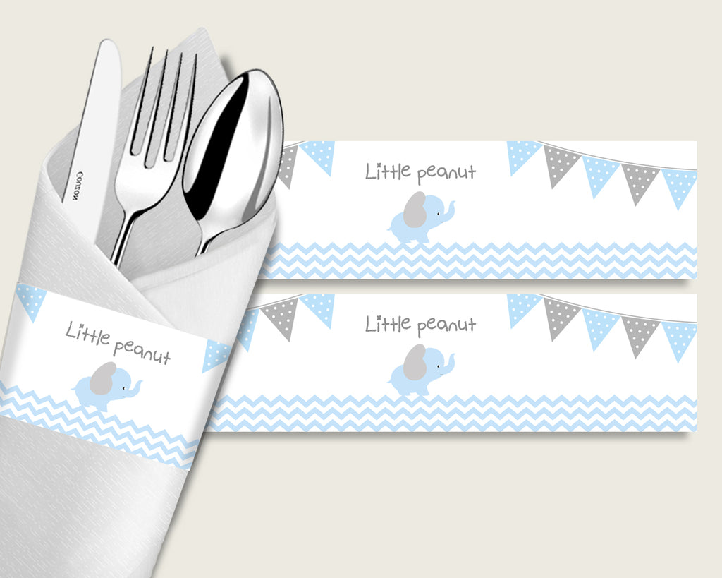 Elephant Baby Shower Napkin Rings Printable, Blue Grey Napkin Wrappers, Boy Shower Utensils Wrap, Instant Download, Most Popular ebl02