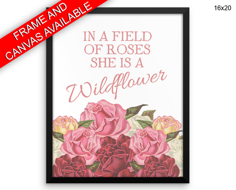 Wildflower Print, Beautiful Wall Art with Frame and Canvas options available Quote Decor