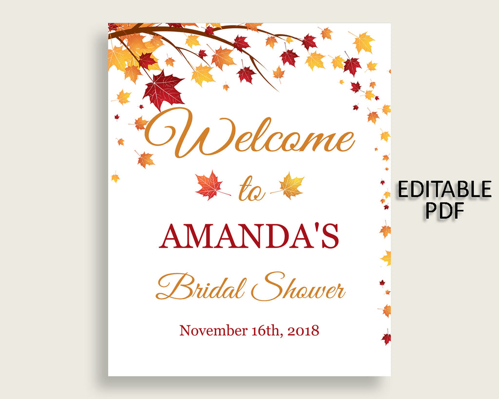 Welcome Sign Bridal Shower Welcome Sign Fall Bridal Shower Welcome Sign Bridal Shower Autumn Welcome Sign Brown Yellow pdf jpg paper YCZ2S