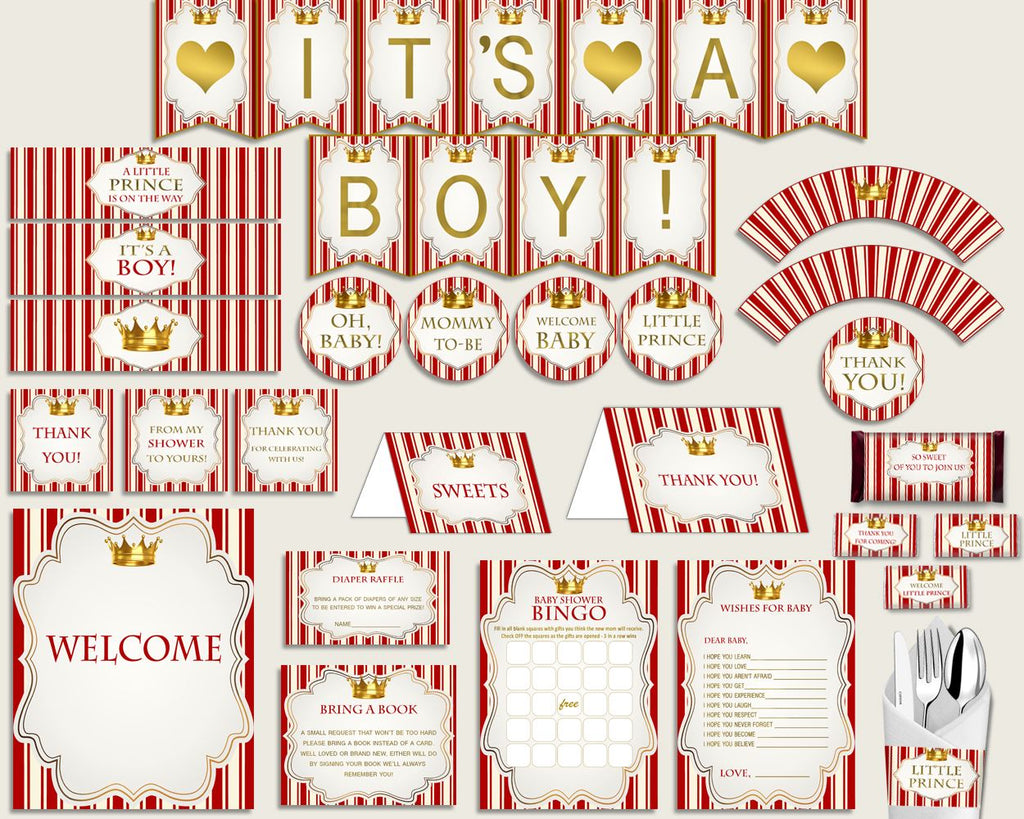 Decorations Baby Shower Decorations Prince Baby Shower Decorations Red Gold  Baby Shower Prince Decorations Prints Party