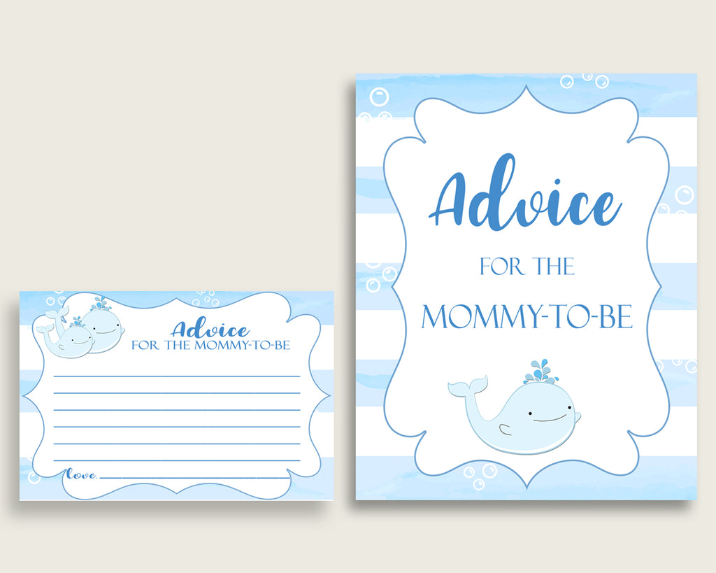 Whale Advice For Mommy To Be Cards & Sign, Printable Baby Shower Blue White Advice For New Parents, Instant Download, Light Blue wbl01