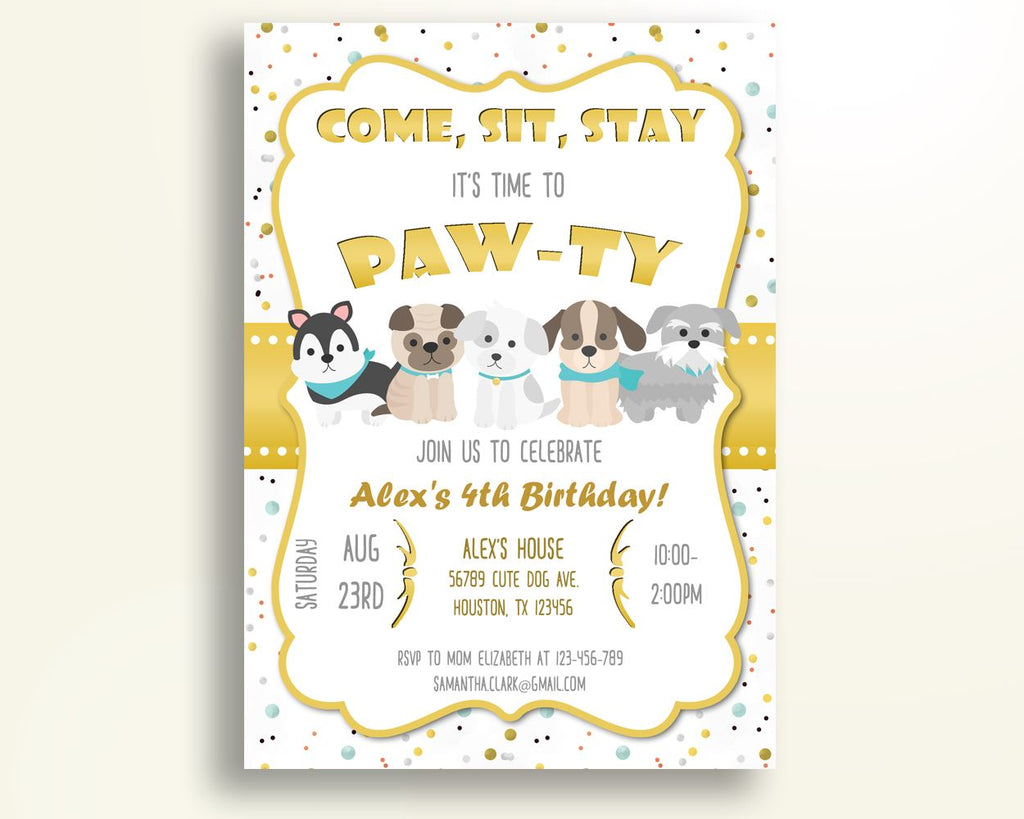 Dogs Birthday Invitation Party Boy Girl Self Editable