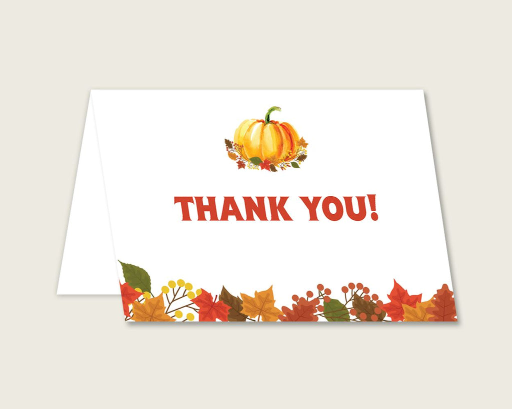 Thank You Card Baby Shower Thank You Card Fall Baby Shower Thank You Card Baby Shower Pumpkin Thank You Card Orange Brown party plan BPK3D - Digital Product