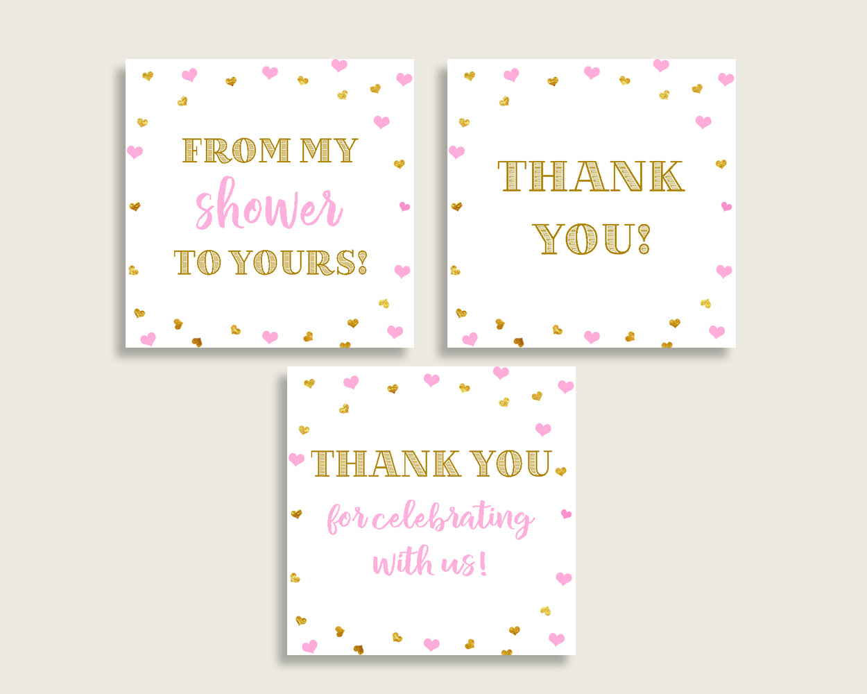 Thank You Tags Baby Shower Thank You Tags Hearts Baby Shower Thank You Tags Baby Shower Hearts Thank You Tags Pink Gold party stuff bsh01