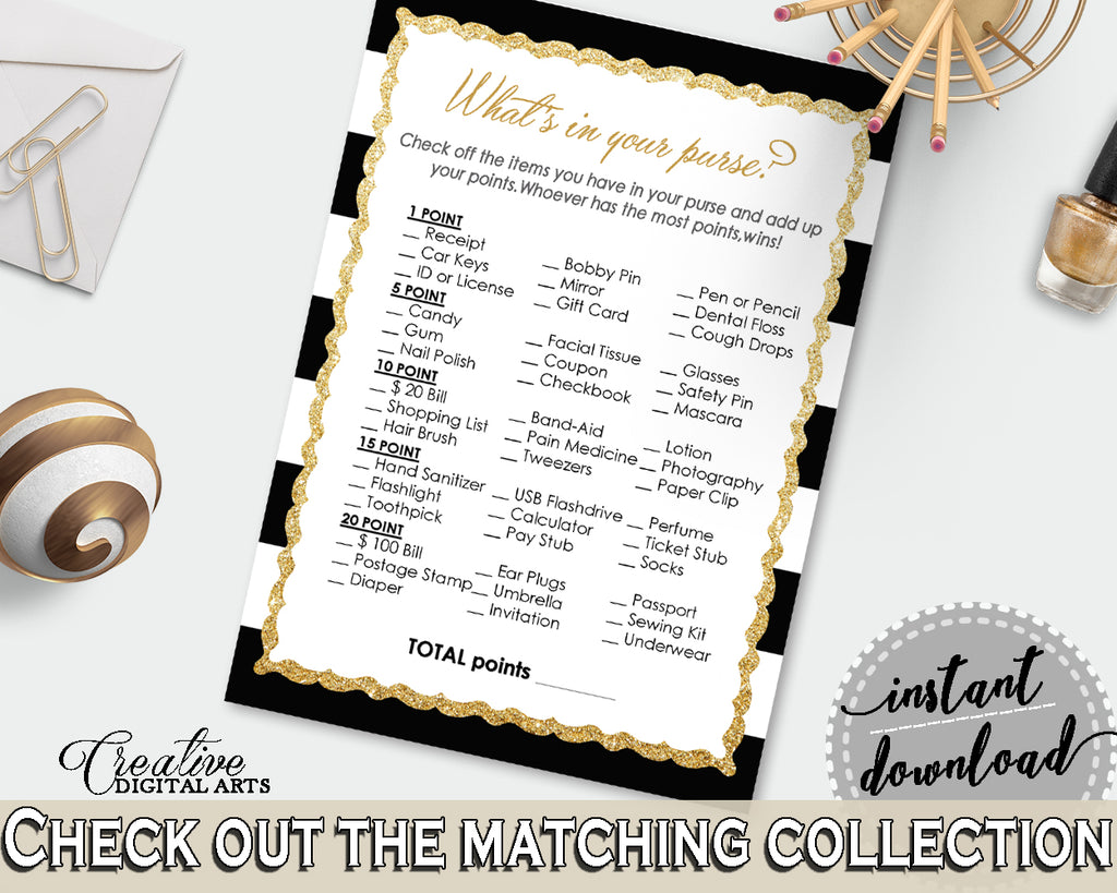 WHAT'S In YOUR PURSE baby shower game with black white color strips theme printable, digital Jpg Pdf, instant download - bs001