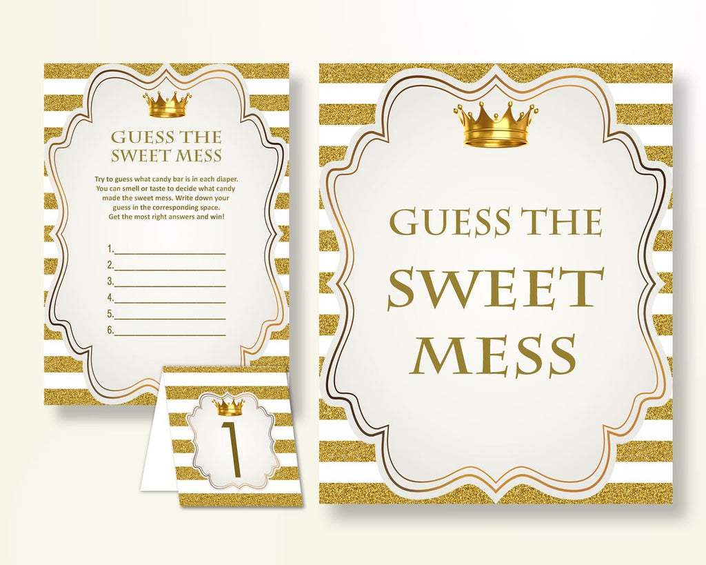 Sweet Mess Baby Shower Sweet Mess Royal Baby Shower Sweet Mess Gold White Baby Shower Gold Sweet Mess pdf jpg instant download Y9MQF - Digital Product
