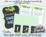 Baby shower GUESS THE SWEET MESS game cards tents and sign with green alligator and blue color theme, instant download - ap002
