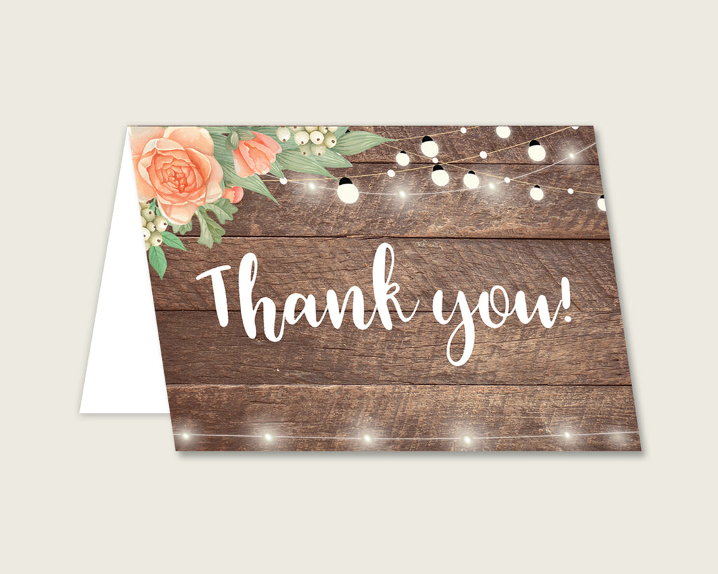Thank You Card Bridal Shower Thank You Card Rustic Bridal Shower Thank You Card Bridal Shower Flowers Thank You Card Brown Beige SC4GE
