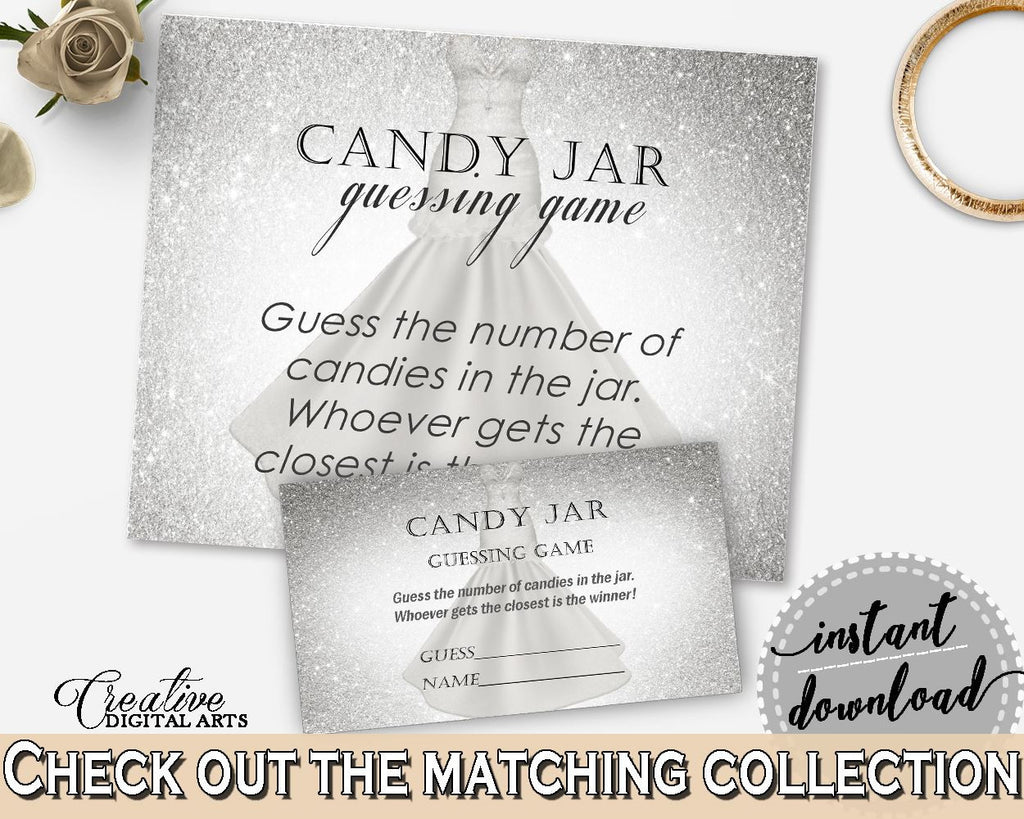silver and white silver wedding dress bridal shower theme candy guessing game fun activity