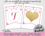 Banner in Glitter Hearts Bridal Shower Gold And Pink Theme, decorations banner,  pink and purple, printables, prints, digital print - WEE0X - Digital Product