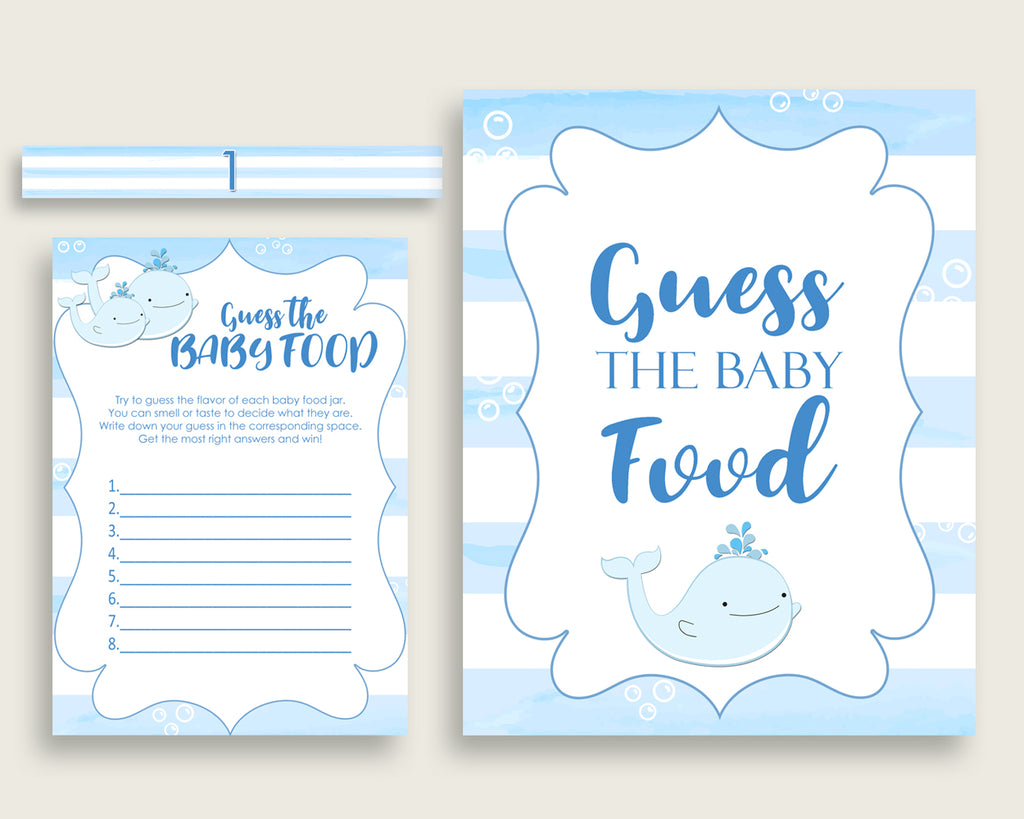 Blue White Whale Guess The Baby Food Game Printable, Boy Baby Shower Food Guessing Game Activity, Instant Download, Nautical Sea wbl01