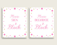 Pink Gold Please Sign A Block Sign and Decoarate A Block Sign Printables, Twinkle Star Girl Baby Shower Decor, Instant Download, bsg01