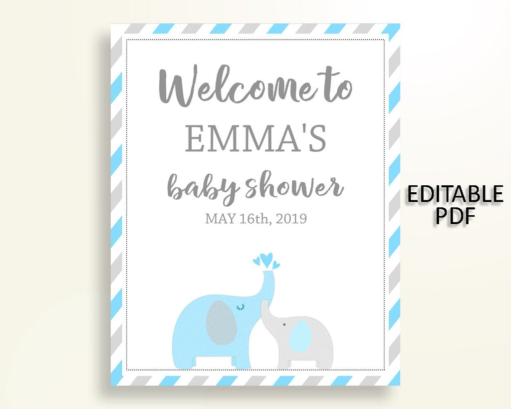 Welcome Sign Baby Shower Welcome Sign Elephant Baby Shower Welcome Sign Blue Gray Baby Shower Elephant Welcome Sign party décor C0U64 - Digital Product