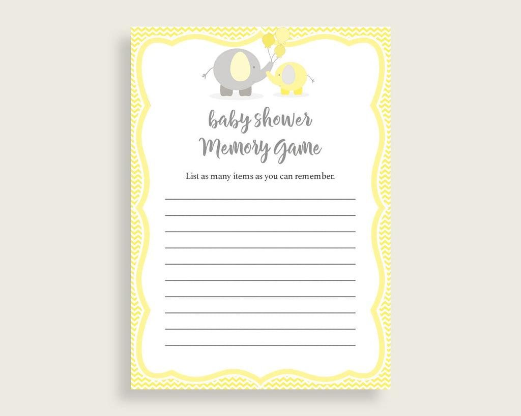 Memory Game Baby Shower Memory Game Yellow Baby Shower Memory Game Baby Shower Elephant Memory Game Yellow Gray party ideas prints W6ZPZ