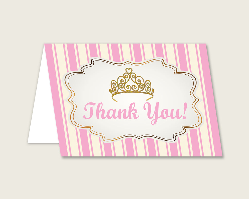 Pink Gold Thank You Cards Printable, Royal Princess Baby Shower Thank You Notes, Girl Shower Thank You Folded, Instant Download, rp002
