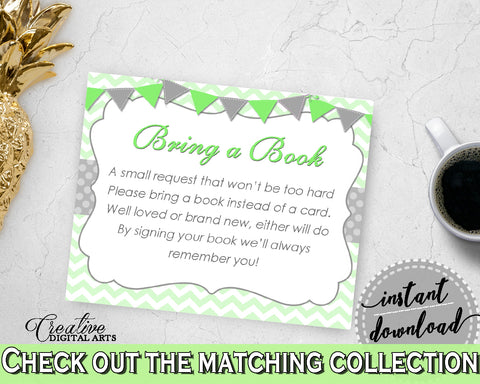 Baby shower BRING A BOOK insert cards printable for baby shower with chevron green theme, boy girl shower, Jpg Pdf, instant download - cgr01