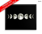 Moon Phases Print, Beautiful Wall Art with Frame and Canvas options available Space Decor