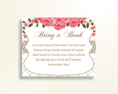 Bring A Book Baby Shower Bring A Book Roses Baby Shower Bring A Book Baby Shower Roses Bring A Book Pink White party organizing U3FPX - Digital Product