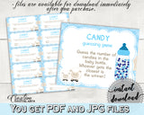 Little Lamb CANDY GUESSING GAME sign tickets, sheep baby shower boy blue theme printable, Guess How Many, Jpg Pdf, instant download - fa001