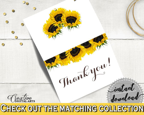 Thank You Card Bridal Shower Thank You Card Sunflower Bridal Shower Thank You Card Bridal Shower Sunflower Thank You Card Yellow White SSNP1 - Digital Product