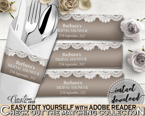 Napkin Ring Editable in Traditional Lace Bridal Shower Brown And Silver Theme, napkin stickers, country theme, shower activity - Z2DRE - Digital Product