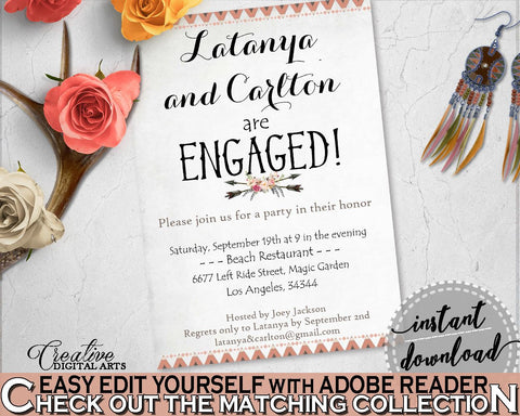 Antlers Flowers Bohemian Bridal Shower Engaged Invitation Editable in Gray and Pink, they're engaged, boho floral, party plan - MVR4R - Digital Product