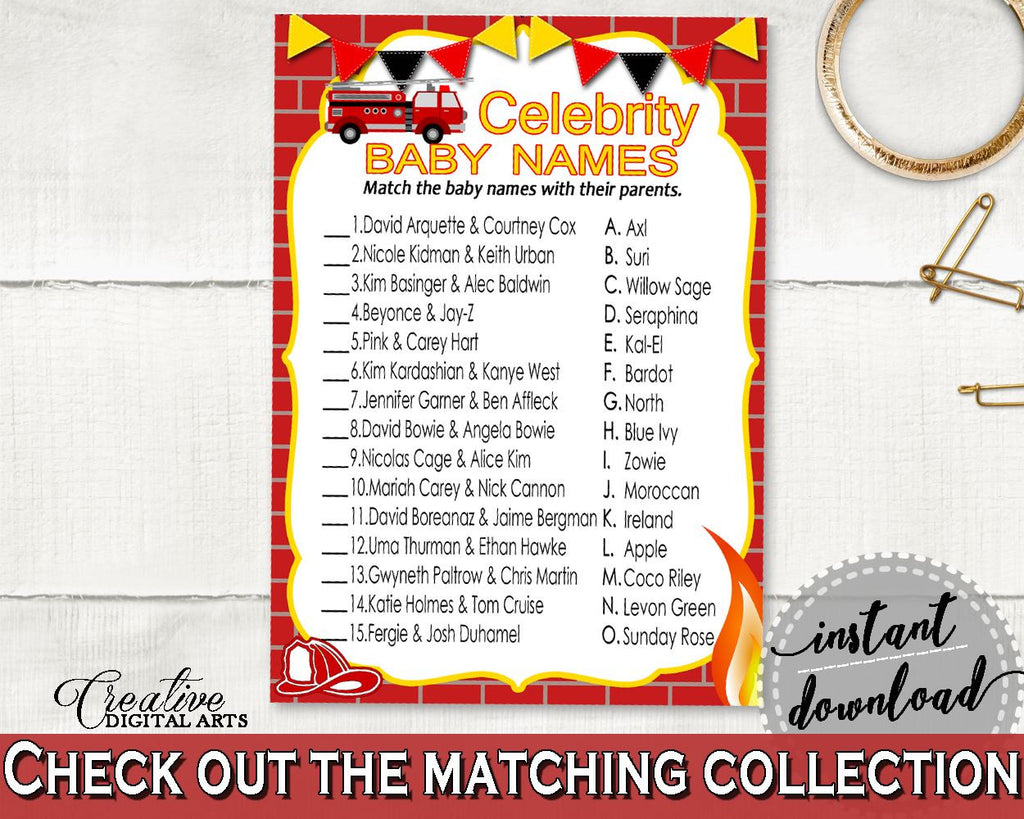 Celebrity Baby Names Baby Shower Celebrity Baby Names Fireman Baby Shower Celebrity Baby Names Red Yellow Baby Shower Fireman LUWX6 - Digital Product