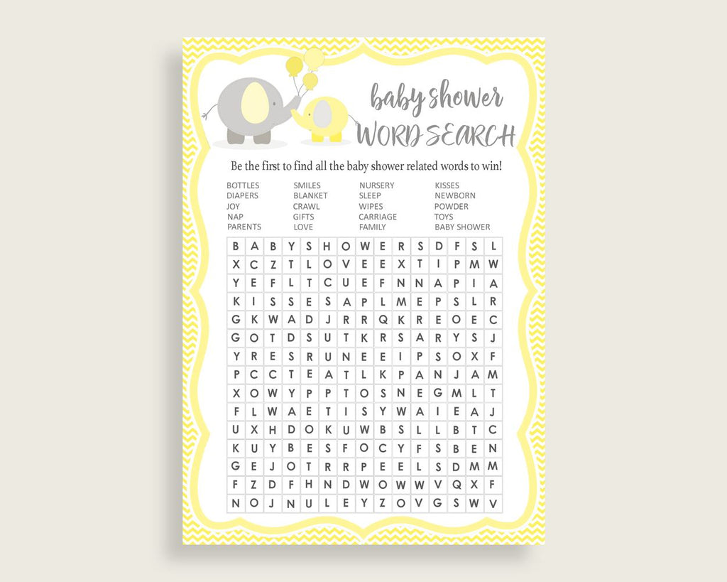 Word Search Baby Shower Word Search Yellow Baby Shower Word Search Baby Shower Elephant Word Search Yellow Gray paper supplies digital W6ZPZ