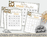 Bingo 60 Cards Baby Shower Bingo 60 Cards Owl Baby Shower Bingo 60 Cards Baby Shower Owl Bingo 60 Cards Gray Brown - 9PUAC - Digital Product